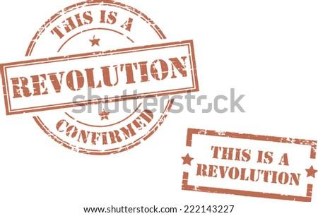 Grunge stamps 'Revolution' - stock vector