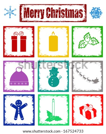 Grunge stamps with symbols of Christmas on white background, vector illustration. Perfect for scrapbooking - stock vector
