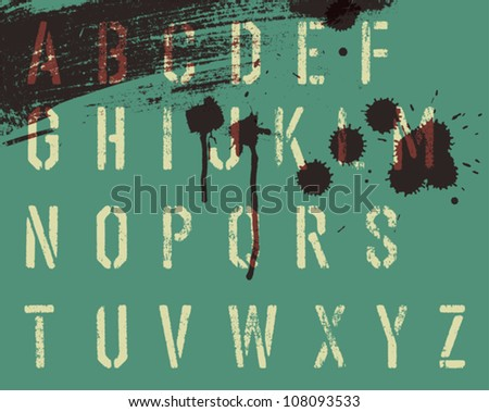 Grunge stencil alphabet with drops and streaks. Vector, EPS10 - stock vector