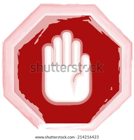 grunge stop sign hand vector illustration  - stock vector