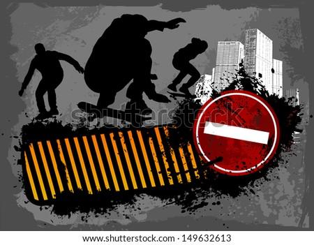 Grunge Street skaters - stock vector