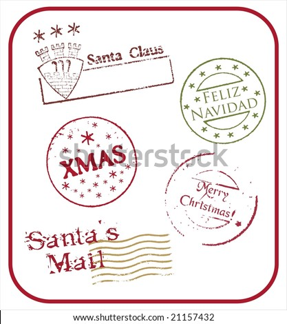 Grunge style Christmas postmarks - vector - stock vector