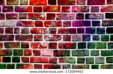 Grunge style colorful paint wall background, abstract urban background, street art vector illustration - stock vector