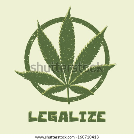 Grunge style marijuana leaf. Legalize medical cannabis. Vector illustration. - stock vector