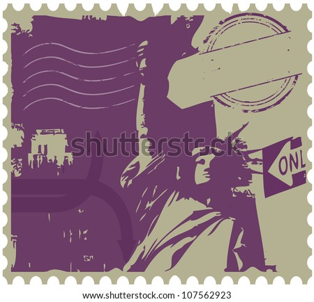 Grunge style news print layout of new york - stock vector