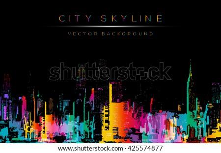 Grunge style vector art, colorful city night skyline illustration. Horizontal banner on black background. - stock vector