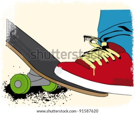 grunge styled skateboarding layout - stock vector