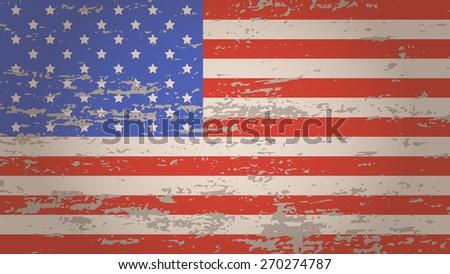 Grunge styled USA flag,America. Background. Vector illustration EPS10 - stock vector