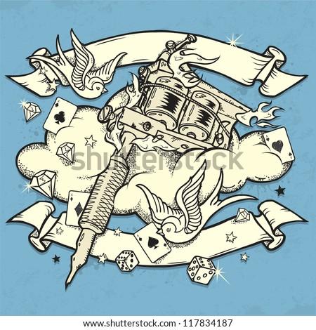 Grunge Tattoo Machine - stock vector