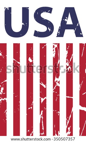 grunge text USA with lines - stock vector