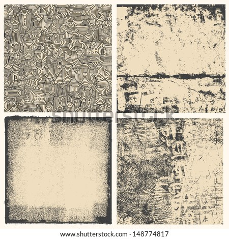 grunge textures set. background. vector illustration.  - stock vector