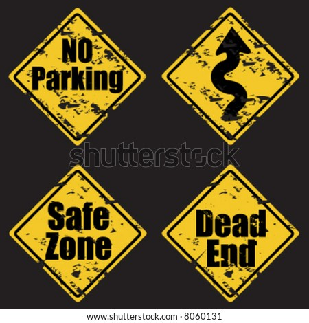 Grunge traffic road signs - stock vector
