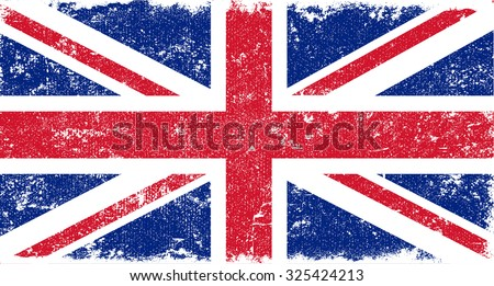 Grunge UK flag.British flag with grunge texture.Vector template.  - stock vector
