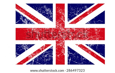 Grunge UK flag vector art - stock vector