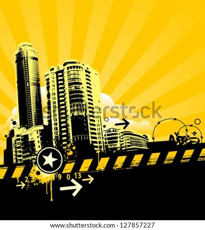 Grunge urban background. Vector illustration. - stock vector