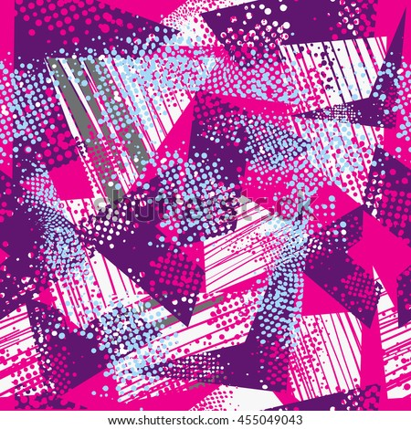 Grunge urban geometric pattern. Abstract seamless wallpaper on pink background with purple and white elements. Creative modern design for fashion, sport clothes. Colorful bright repeated backdrop. - stock vector