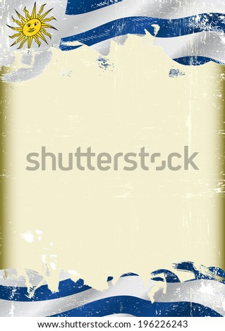 Grunge uruguayan flag . A poster with a large scratched frame and a grunge Uruguayan flag for your publicity. - stock vector