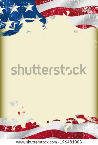 Grunge USA flag. A poster with a large scratched frame and a Grunge USA flag for your publicity. - stock vector