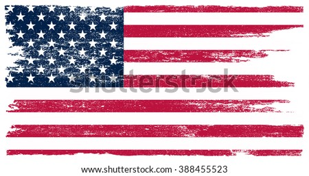 Grunge USA flag. American flag with grunge texture. Vector flag of USA. - stock vector