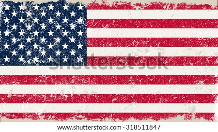 Grunge USA flag.American flag with grunge texture.Vector illustration. - stock vector