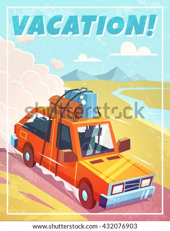 Grunge vacation background with car. Vector illustration. - stock vector