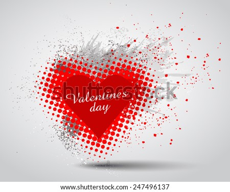 Grunge Valentines Day hart background - stock vector