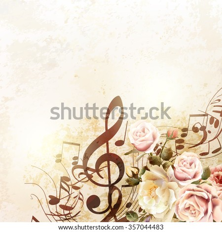 Grunge vector background with music notes and rose flowers in vintage style - stock vector