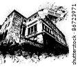 Grunge vector house - stock vector