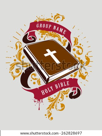 Grunge vector illustration of holy bible with ribbons and florals. Vector print. - stock vector