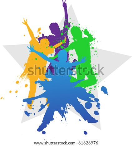 Grunge vector illustration, young people jumping against spray paint elements. - stock vector