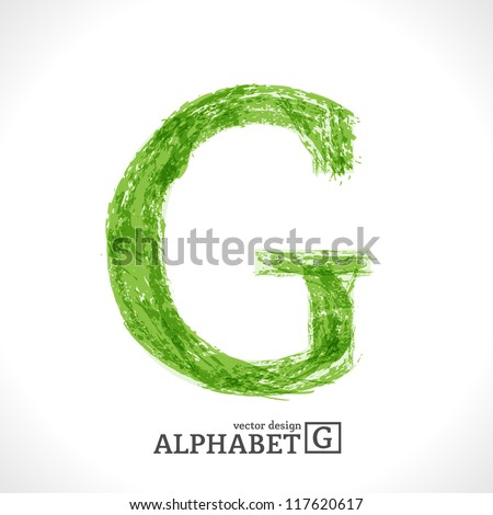 Grunge Vector Letter. Green Eco Style. Font Symbol G. - stock vector