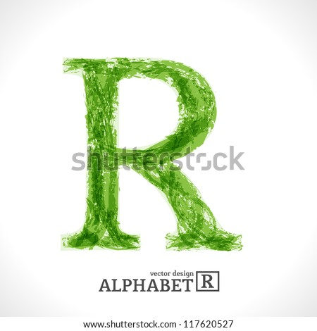 Grunge Vector Letter. Green Eco Style. Font Symbol R. - stock vector