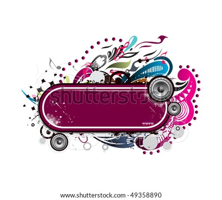 grunge vector music composition with floral background, vector illustration - stock vector