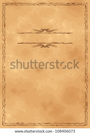 Grunge vintage old craft paper background with hand drawn frame - stock vector