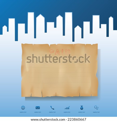 Grunge vintage paper with abstract background of city. Abstract conceptual image template. - stock vector