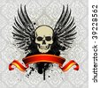 Grunge Vintage Skull Emblem with Ribbon - stock vector