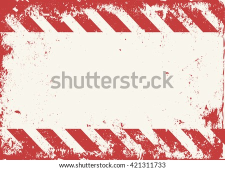 grunge warning tape red and white - stock vector