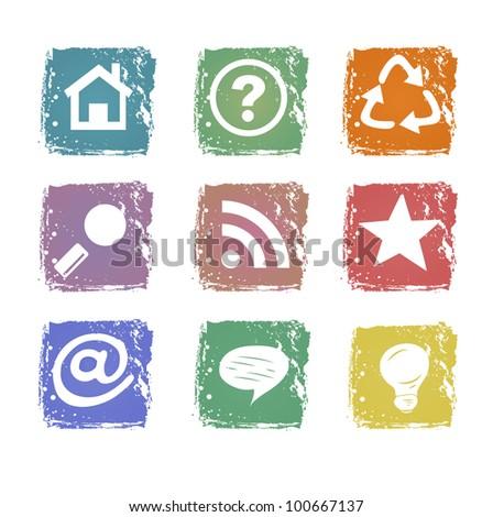 Grunge web icons isolated on white background - stock vector