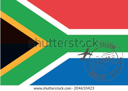 Grunge welcome rubber stamp with date on the flag of South Africa - stock vector