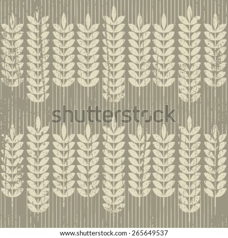 grunge wheat seamless pattern on light brown - stock vector