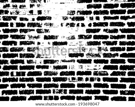 Grunge white and black brick wall background. Vector illustration. - stock vector