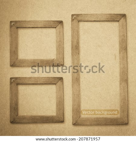 grunge wood frame vector background, vintage paper texture - stock vector