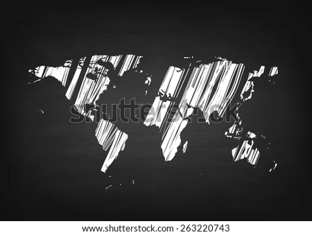 Grunge world map on black chalkboard. Vector background - stock vector