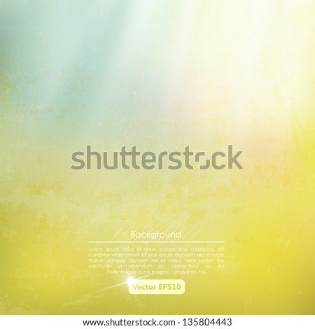 Grunge yellow-blue background with sunrays. Wall. - stock vector