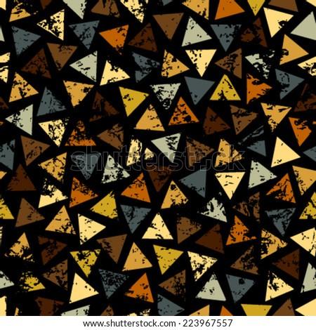 grunge yellow, grey, orange triangles on black seamless pattern - stock vector