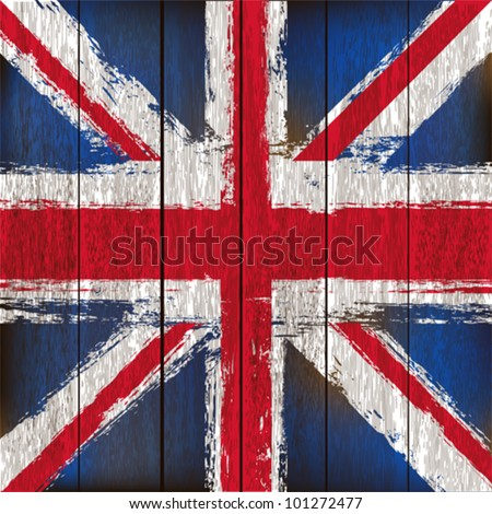 Grunged British Union Jack Flag over a wooden plank  background  illustration - stock vector