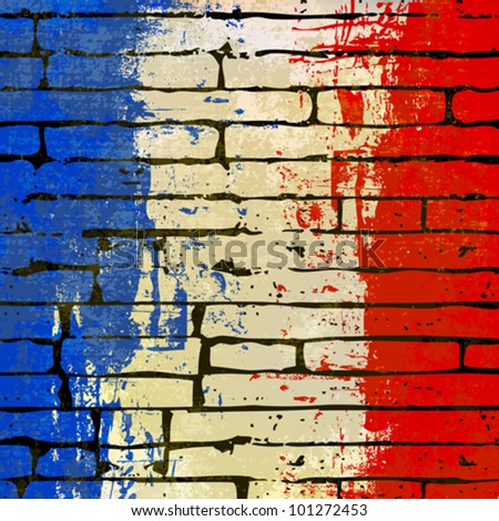 Grunged French Flag over a brick wall  background  illustration - stock vector