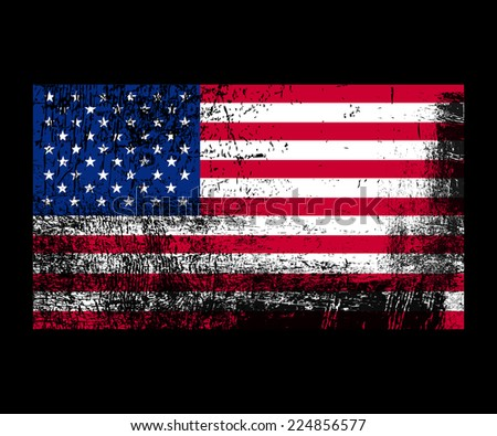 Grungy american flag background. - stock vector