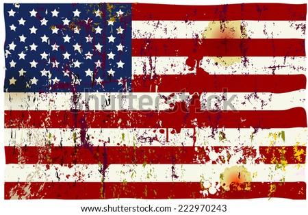 grungy american vector flag   - stock vector