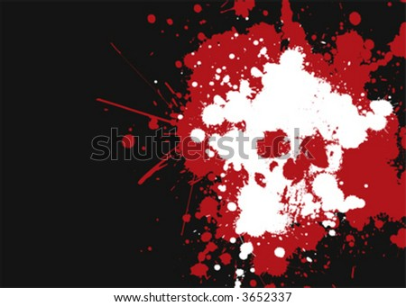 grungy, bloody vector skull - stock vector